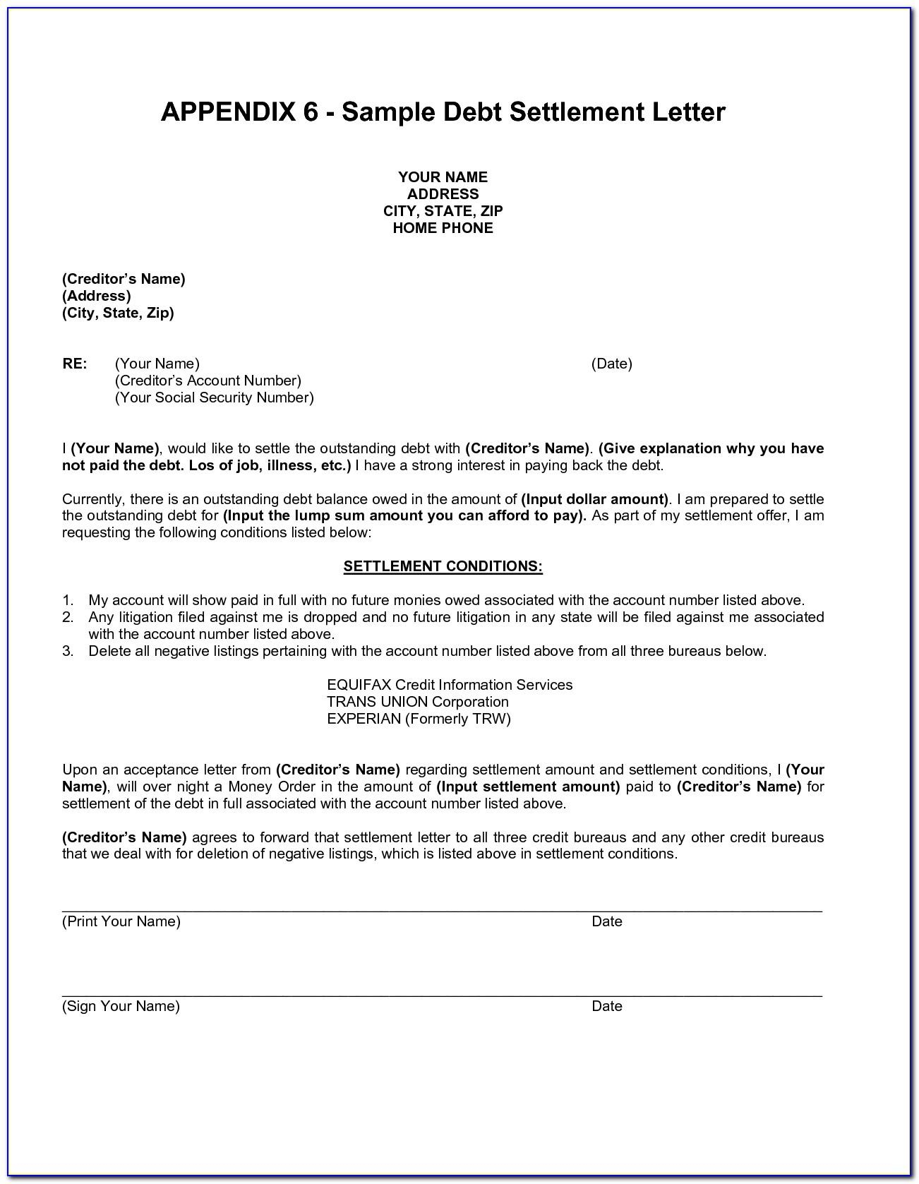 Debt Settlement Offer Letter Templates