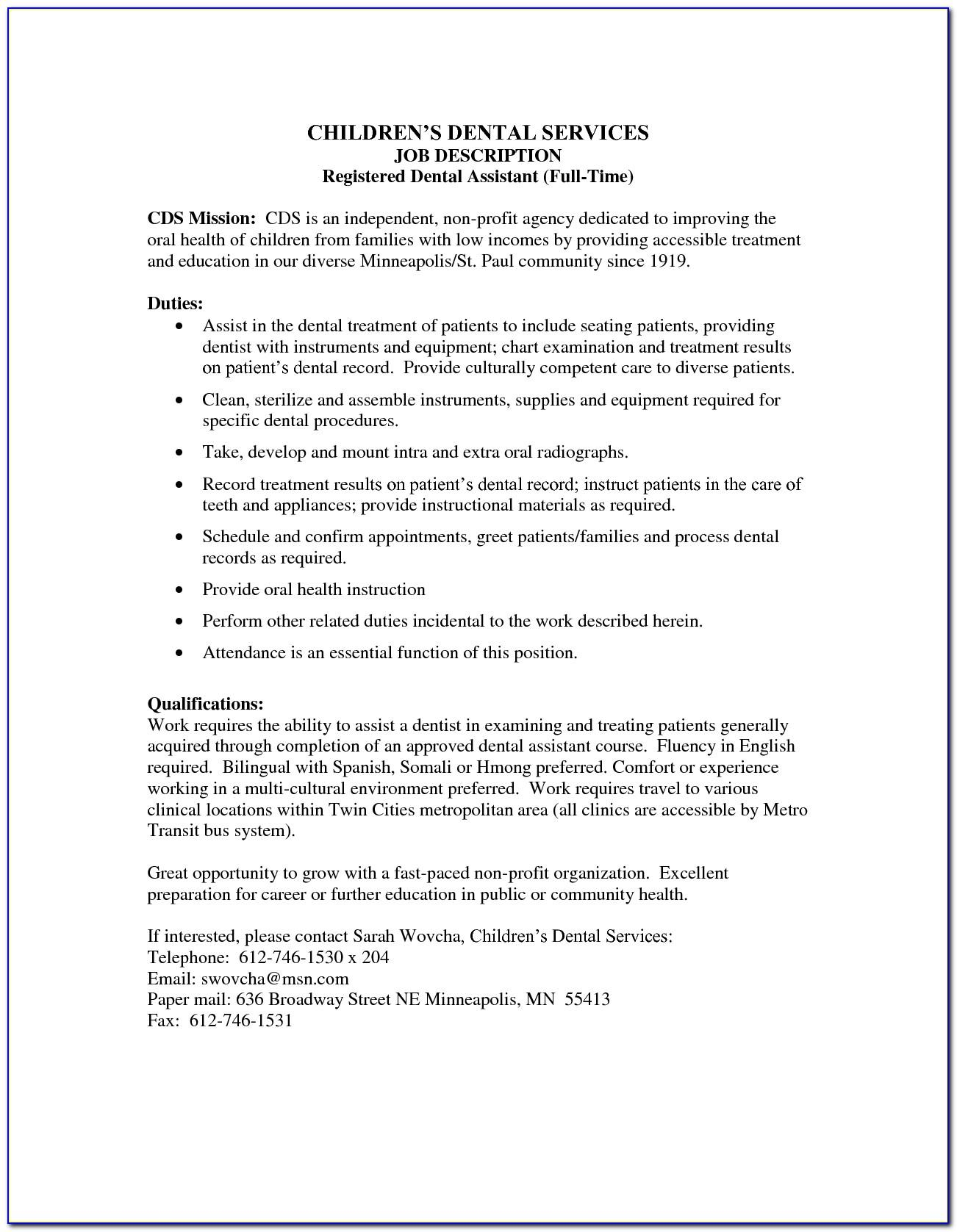 Dental Assistant Job Description Examples