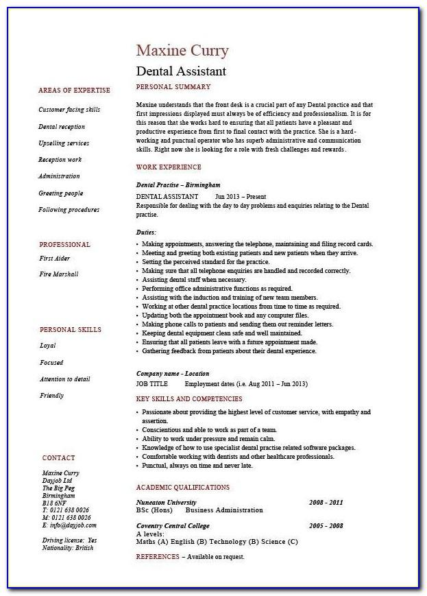 Dental Assistant Job Description Resume