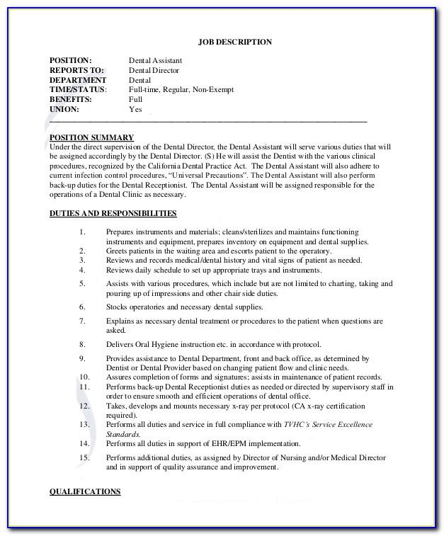 Dental Assistant Job Description Template