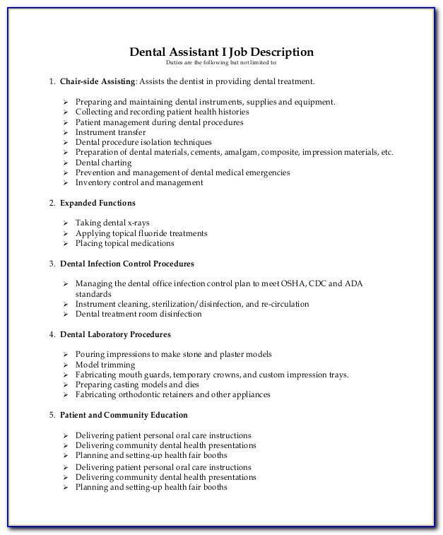 Dental Assistant Job Duties Resume
