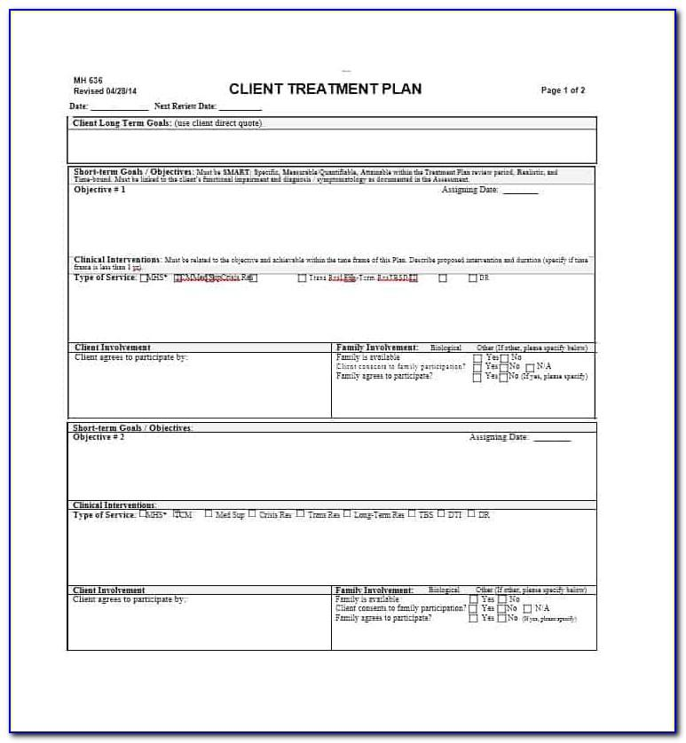 Depression Treatment Plan Template