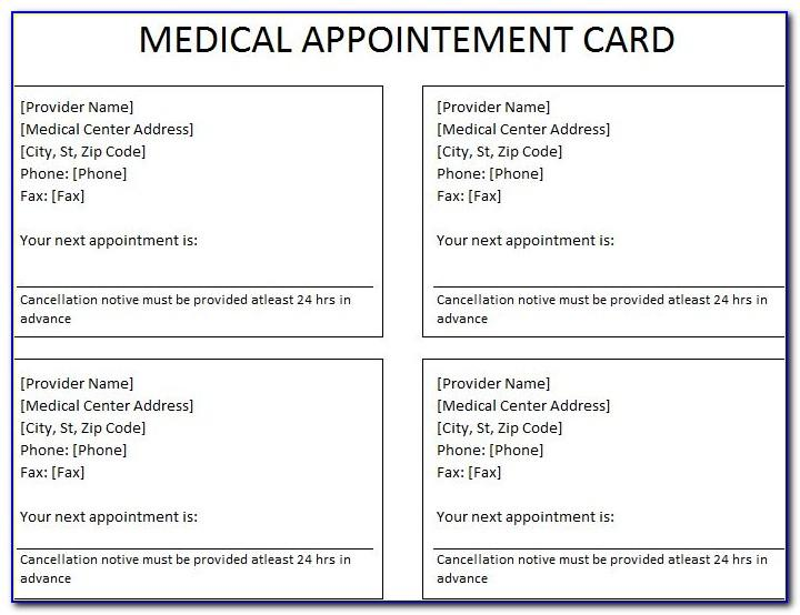 Doctor's Appointment Card Template