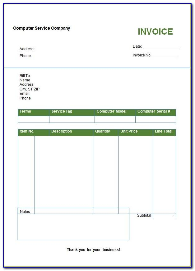Dummy Invoice Template Word