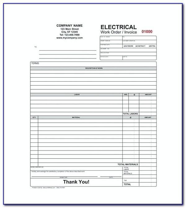 Electrician Invoice Template Uk