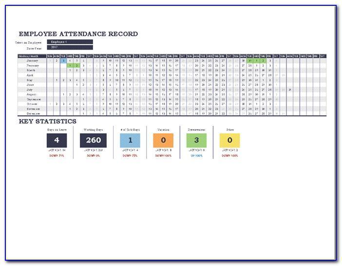 Employee Attendance Tracker Template 2016