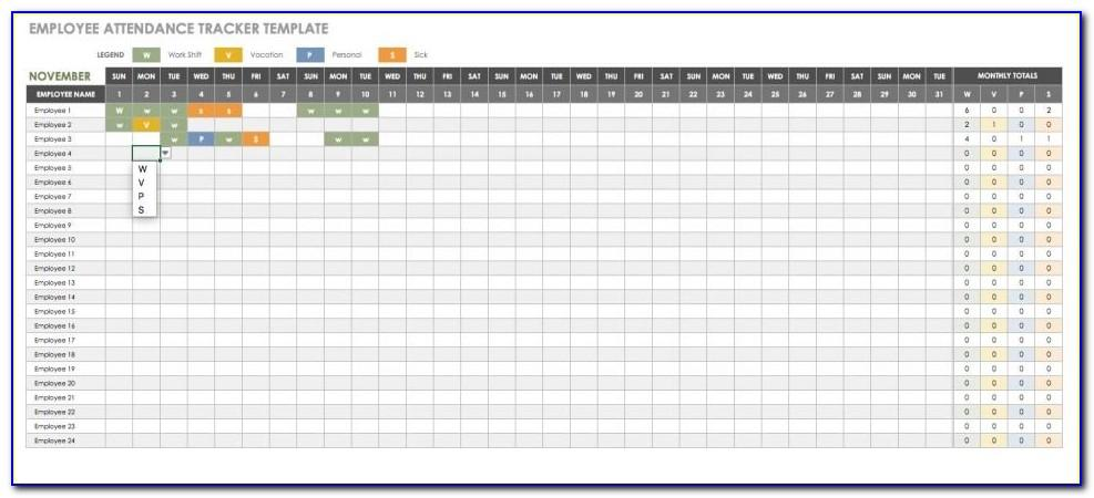 Employee Attendance Tracker Template Free 2016