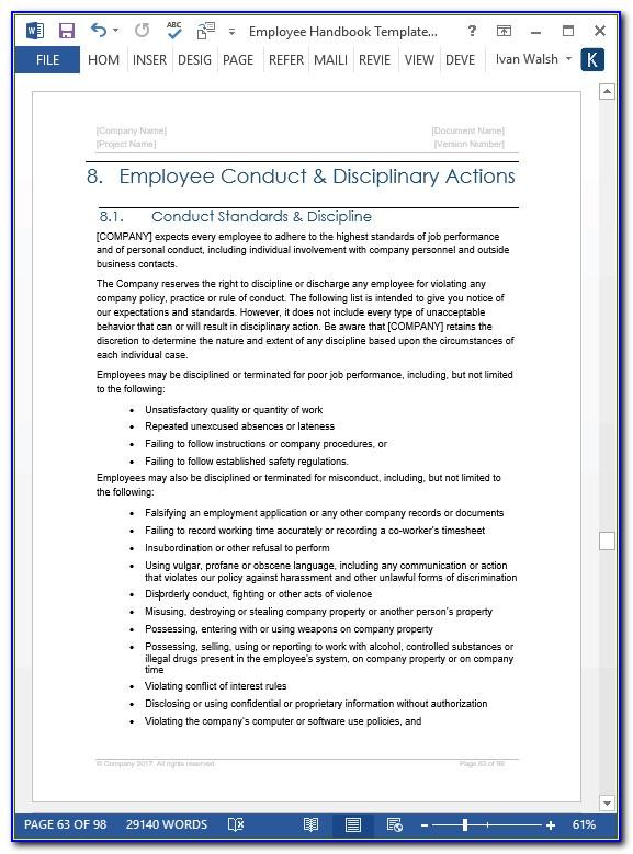 Employee Handbook Templates Uk