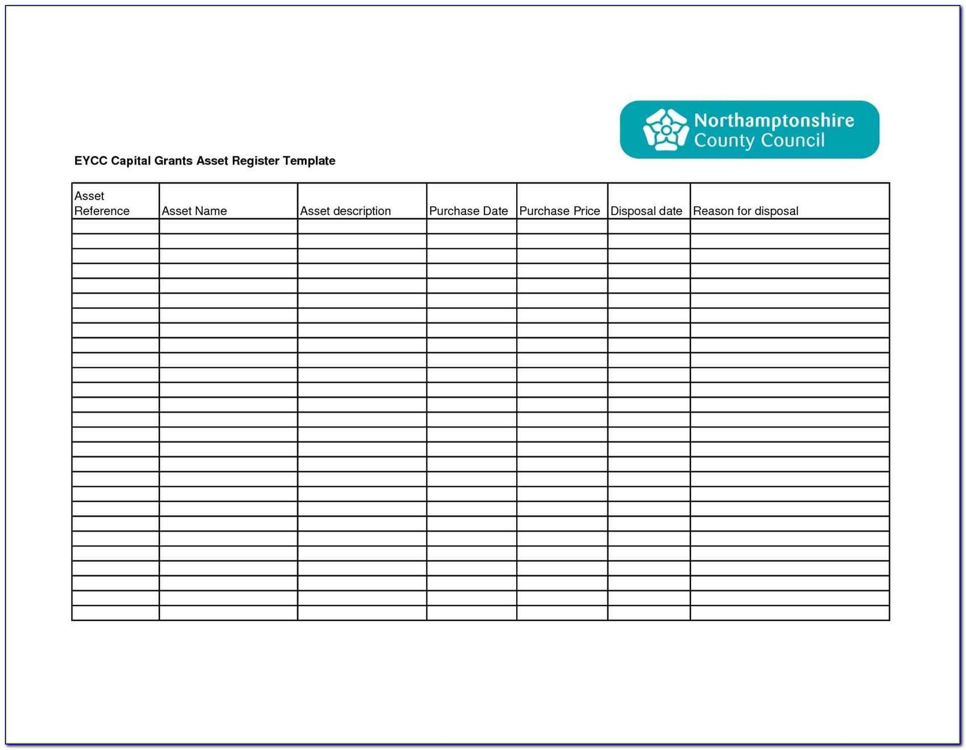 Fixed Asset List Template