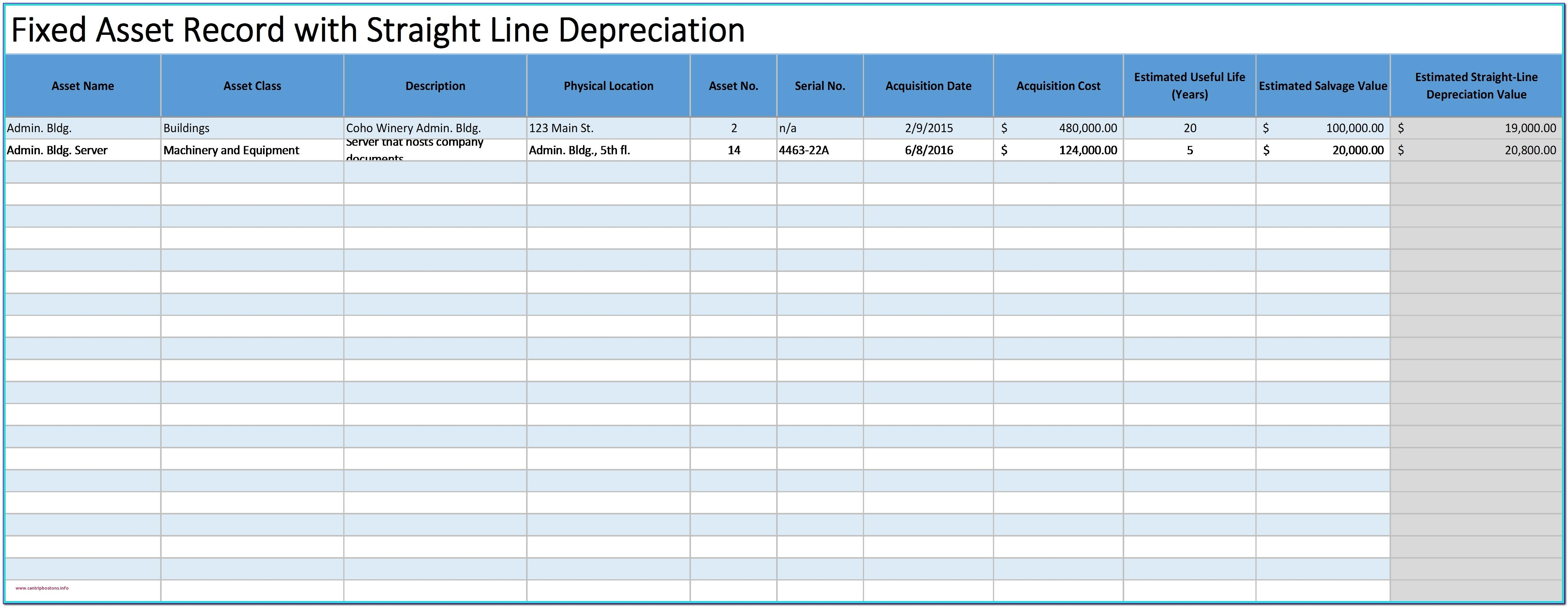 Fixed Asset Reconciliation Template