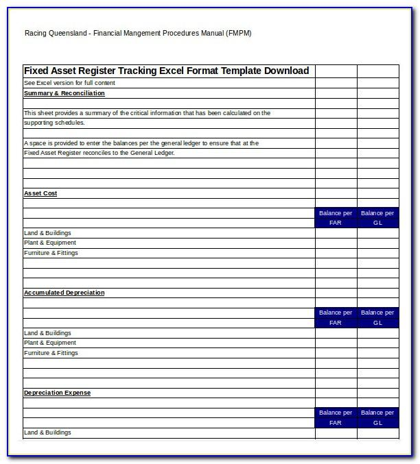 Fixed Asset Schedule Template Excel