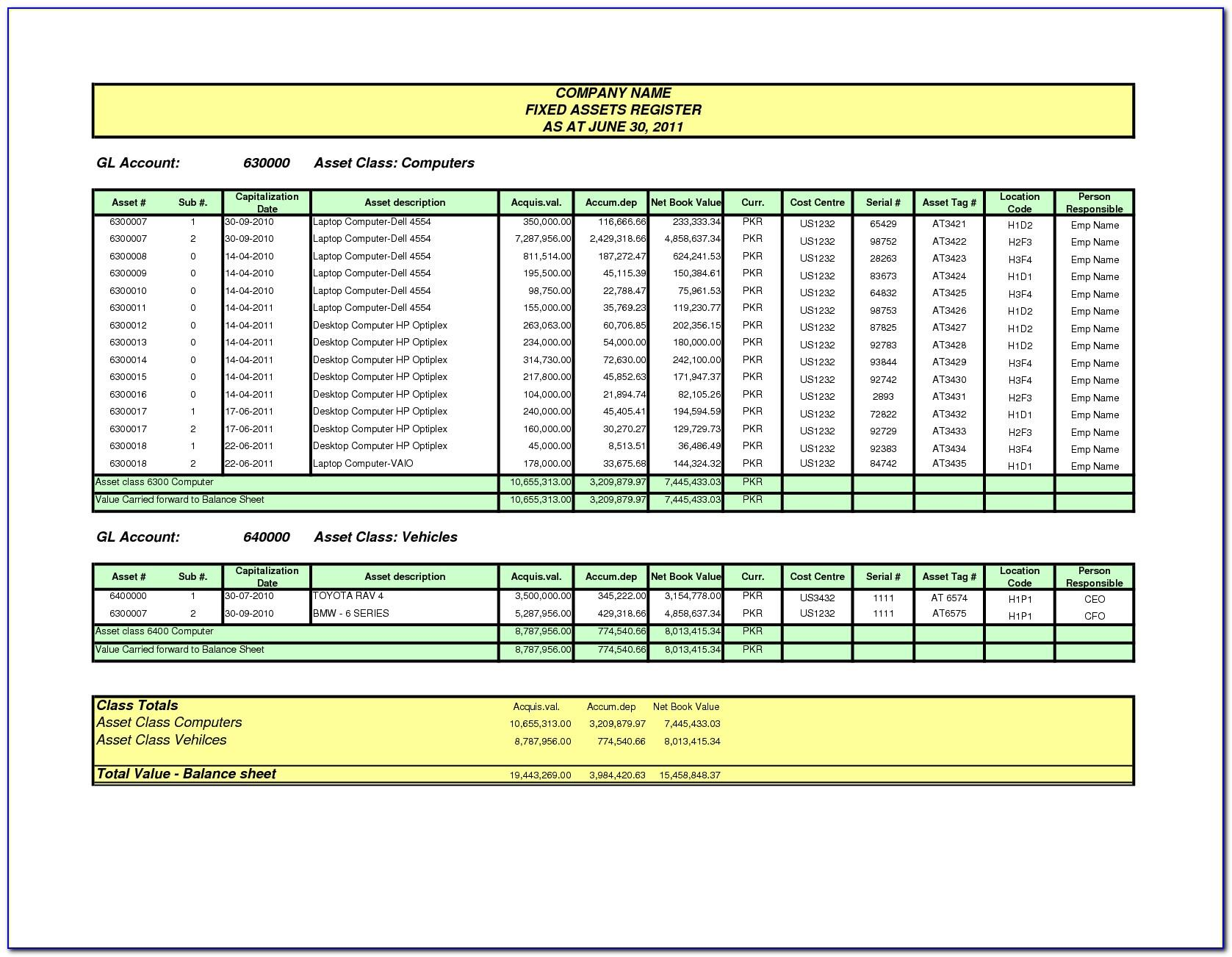 Fixed Asset Template Excel