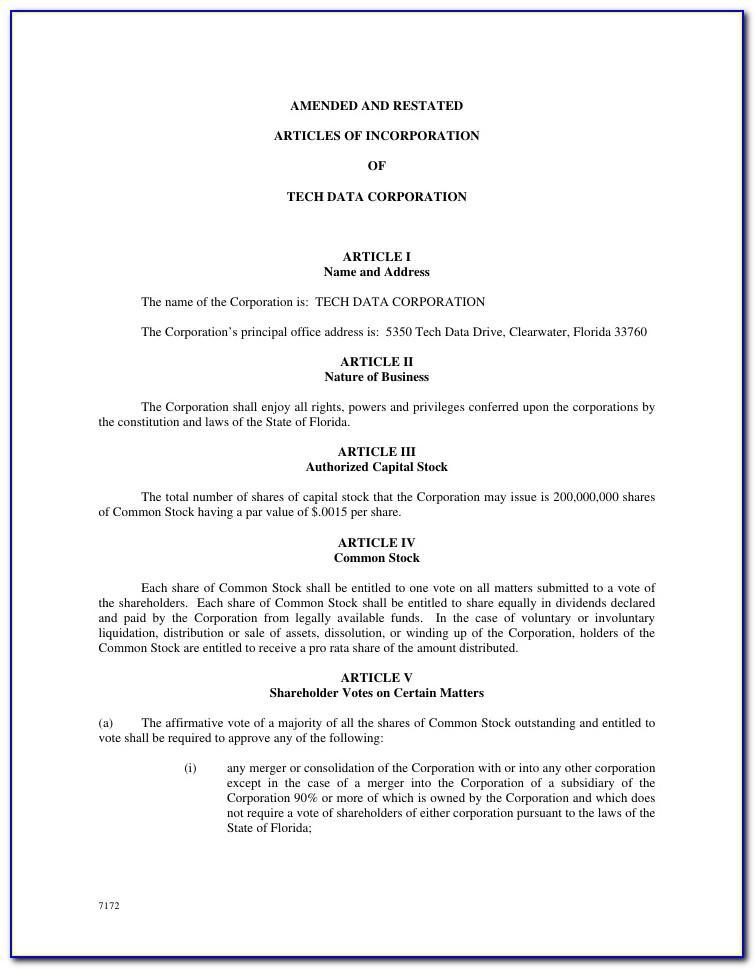 Florida Non Profit Articles Of Incorporation Template