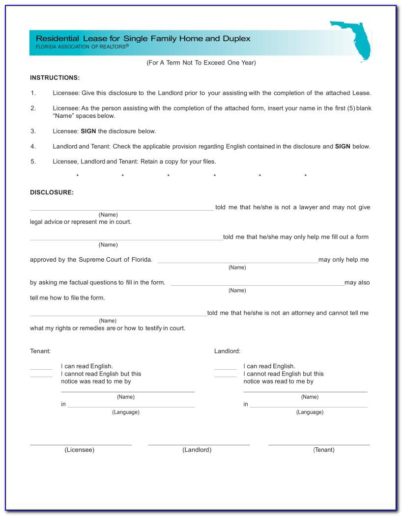 Florida Standard Residential Lease Agreement Form