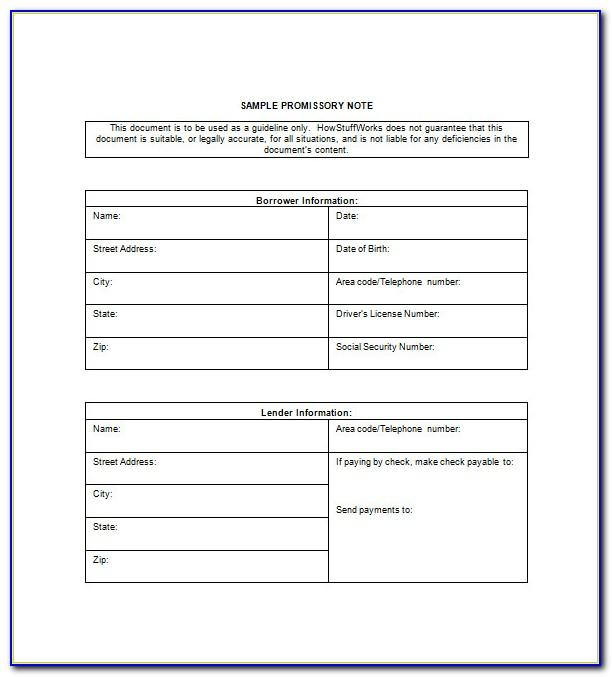 Free Auto Promissory Note Template