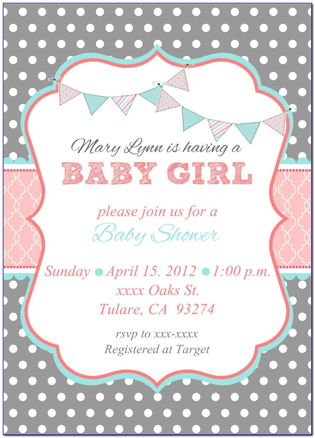 Free Baby Shower Invitation Template For Girl