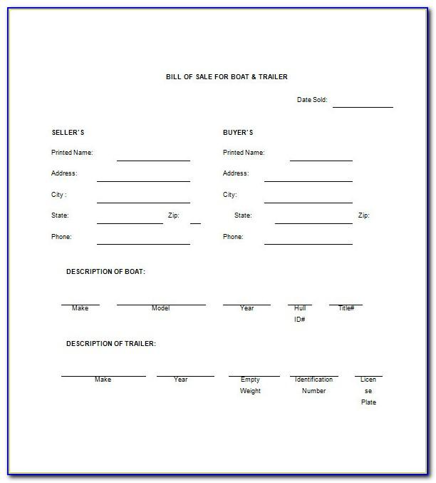 Free Bill Of Sale Template For A Boat