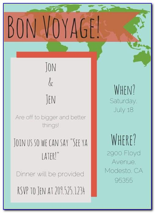 Free Bon Voyage Party Invitation Template