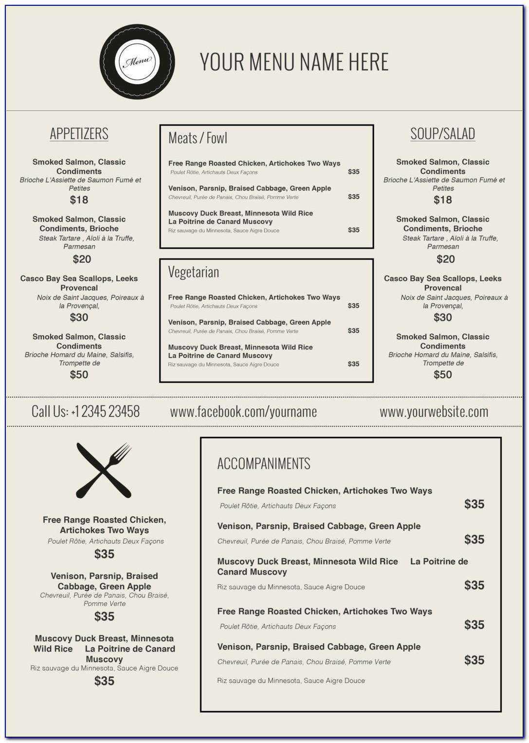 Free Cafe Menu Template Microsoft Word