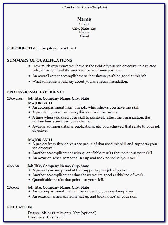 Free Combination Resume Template Download