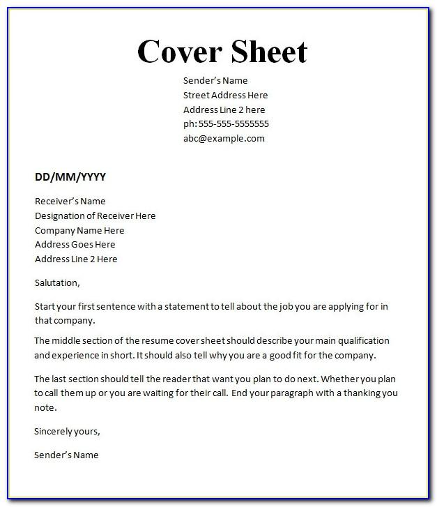 Free Cover Page For Resume Template