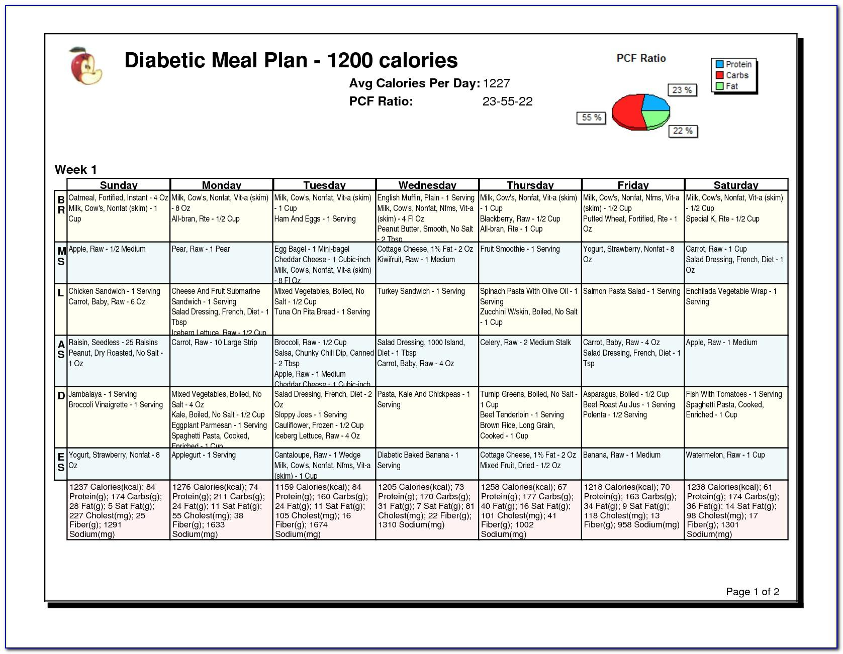 Free Diabetic Meal Planner Template