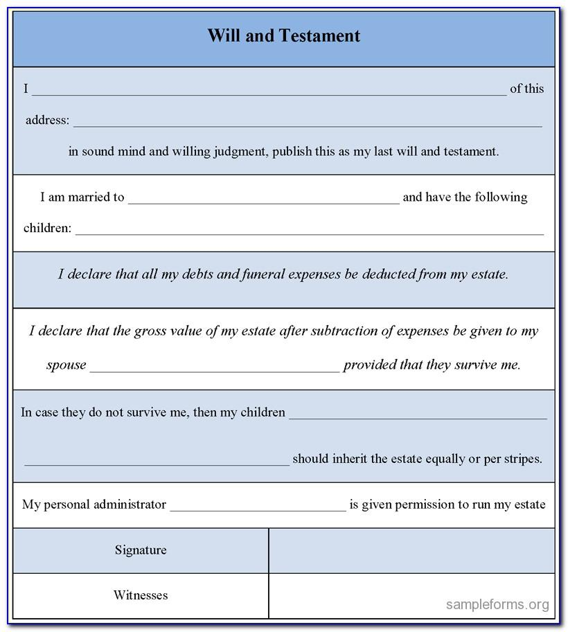 Free Download Last Will And Testament Template South Africa