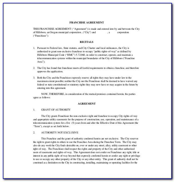 Free Franchise Agreement Template Uk