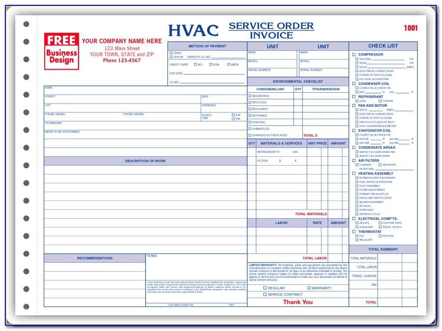 Free Hvac Repair Invoice Template