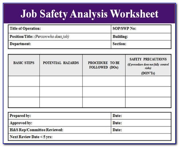 Free Job Safety Analysis Worksheet Template