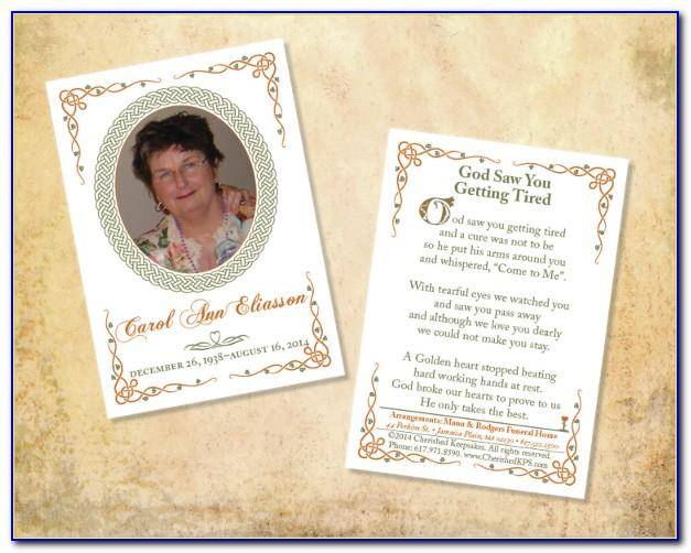Free Memorial Cards Templates For Funeral