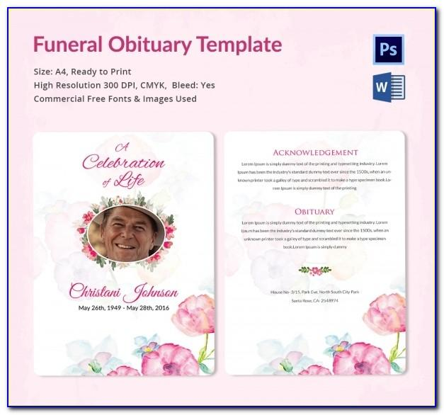 Free Microsoft Office Funeral Service Or Obituary Templates