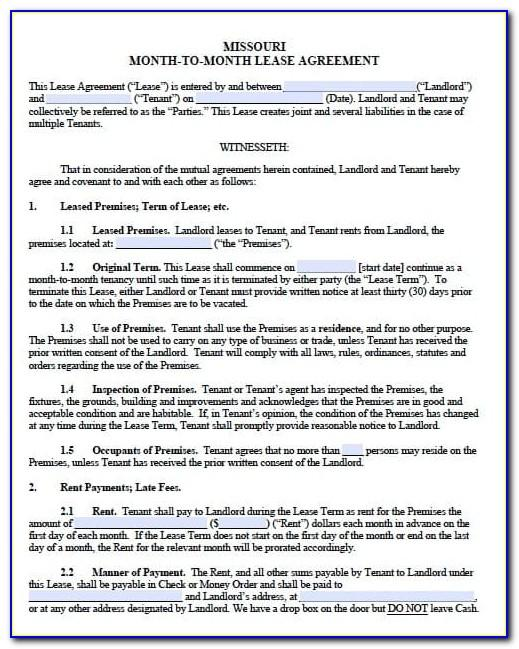 Free Missouri Residential Lease Agreement Template