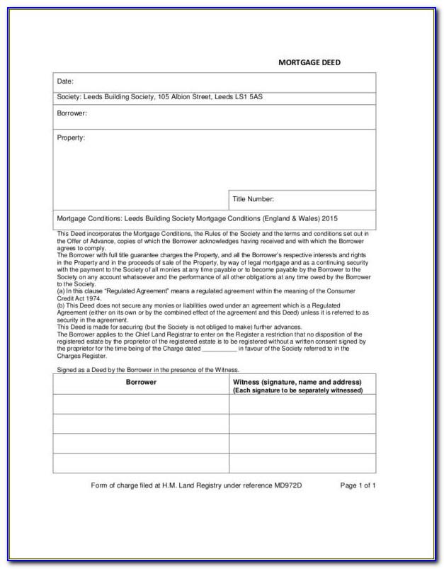 Free Mortgage Deed Template