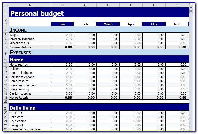 Free Personal Budget Template Printable