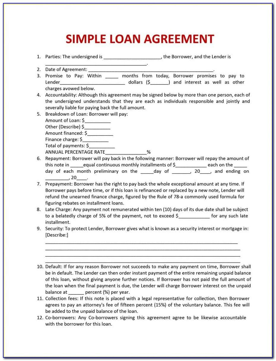 Free Personal Loan Agreement Template Microsoft Word South Africa