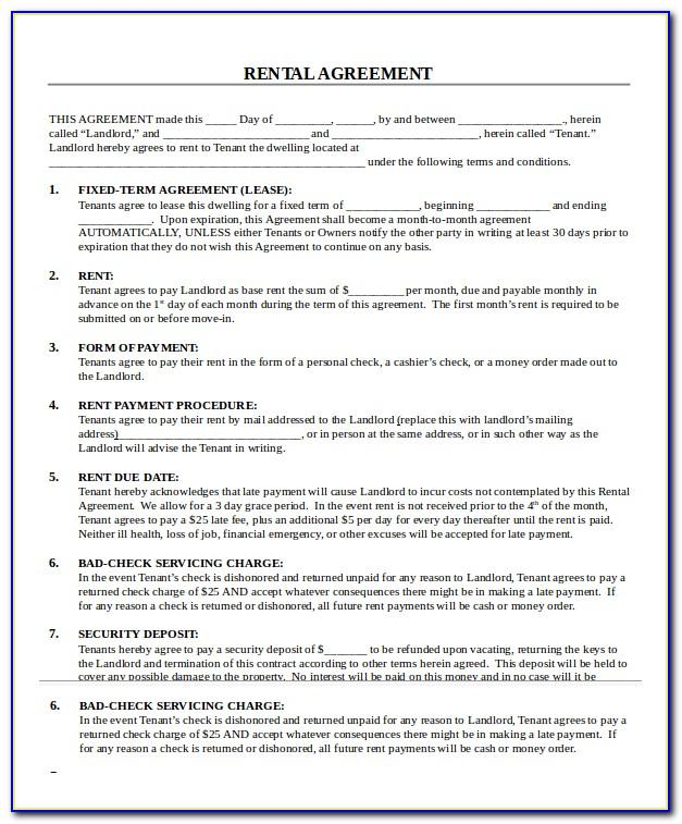Free Printable Lease Template