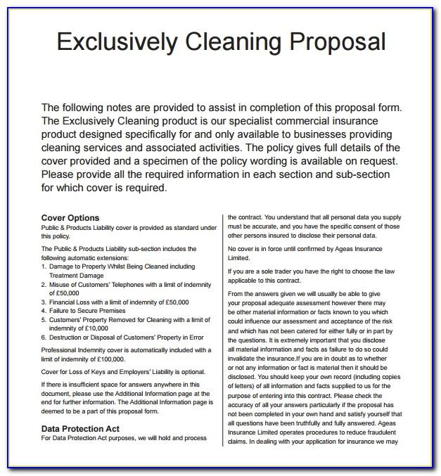 Free Proposal Template For Cleaning Services