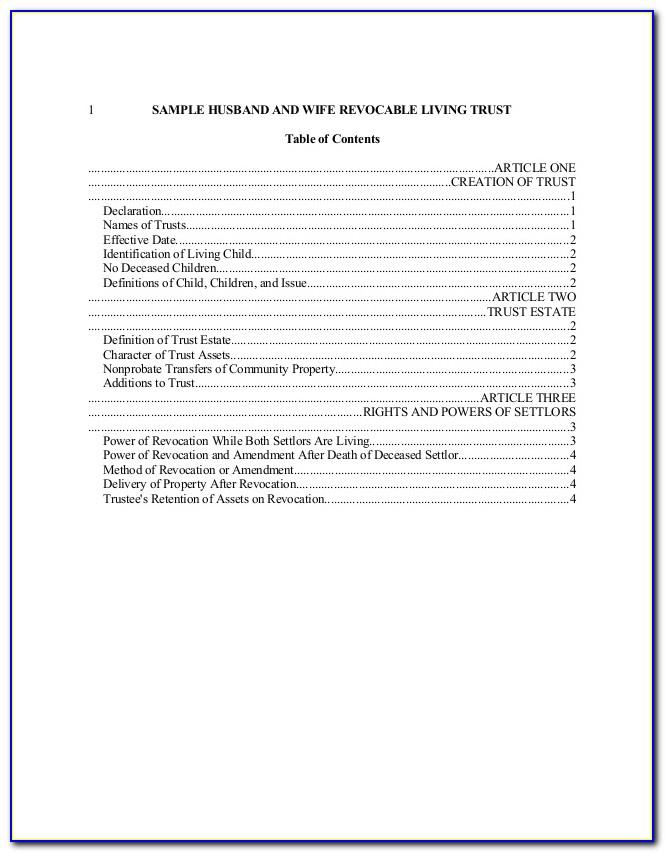Free Revocable Living Trust Template California
