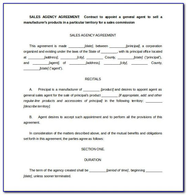 Free Sales Agency Agreement Template South Africa