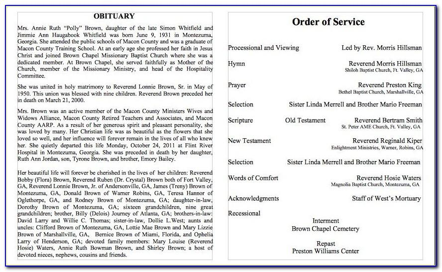 Free Sample Funeral Obituary Templates