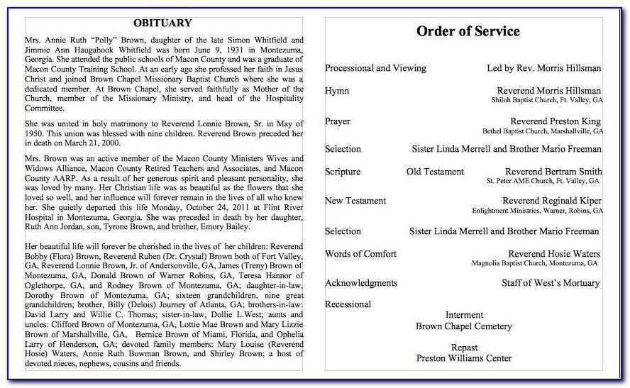 Free Sample Funeral Obituary Templates