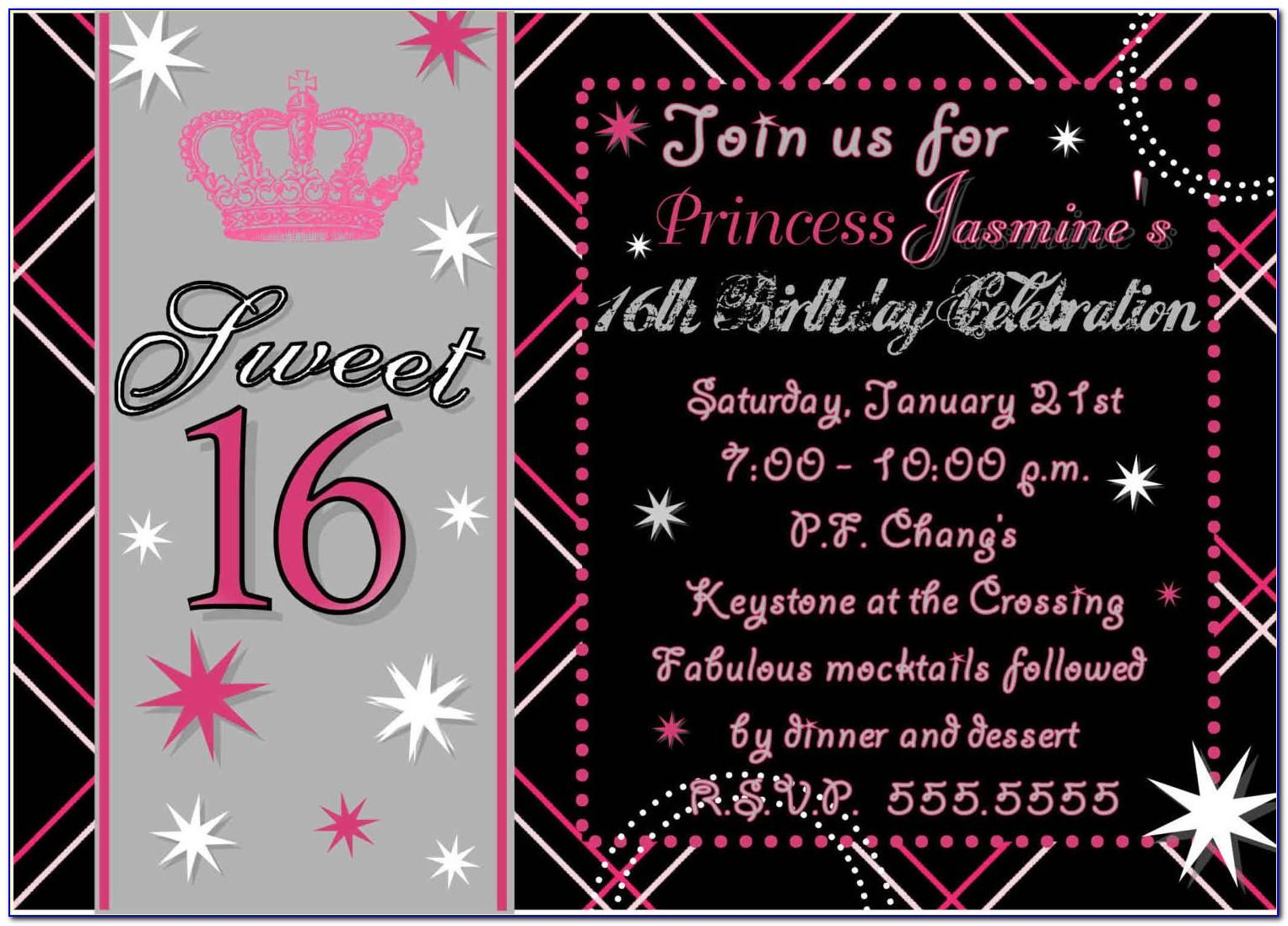 Free Sweet 16 Birthday Invitation Templates