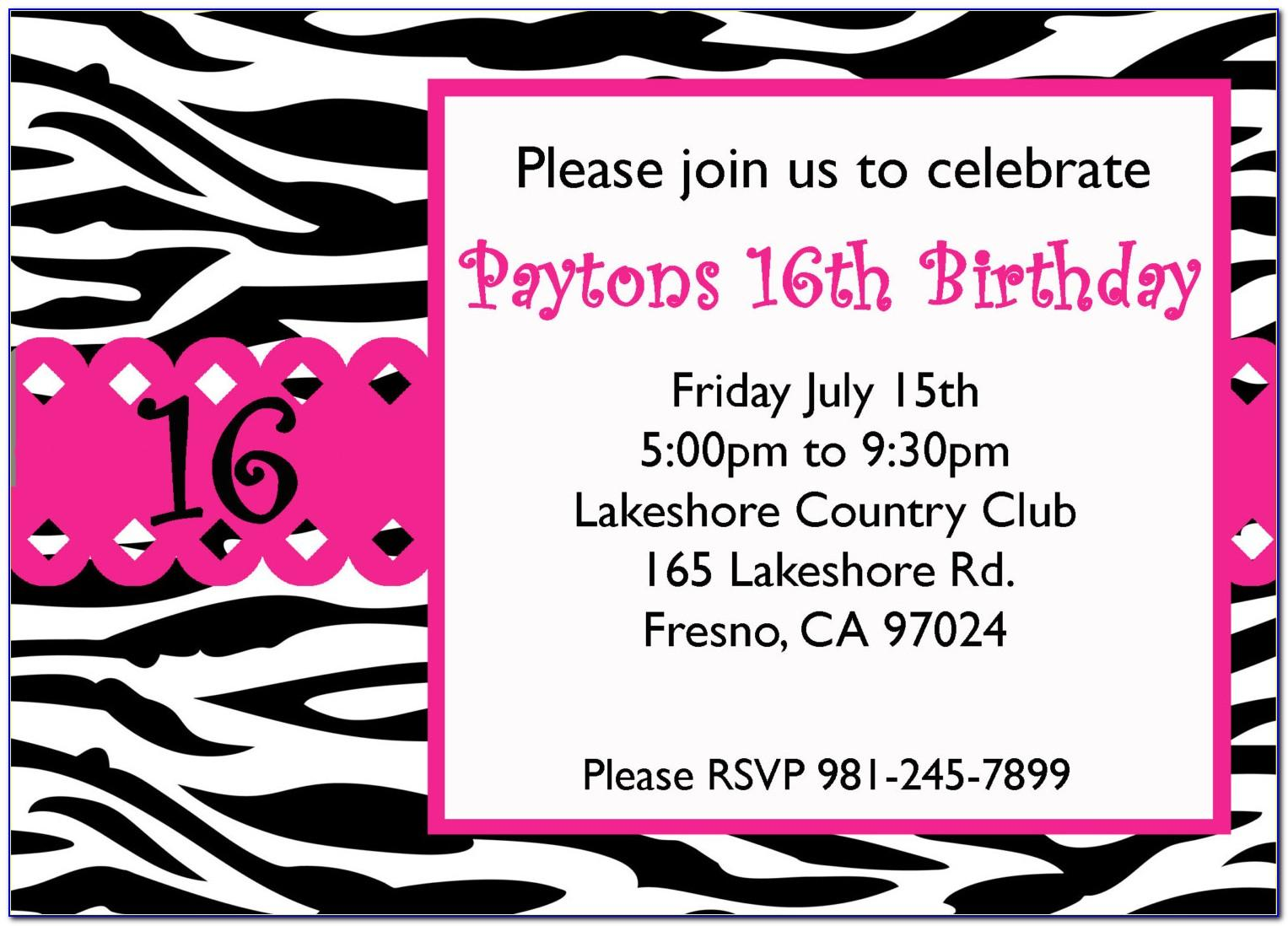 Free Sweet 16 Birthday Party Invitation Templates