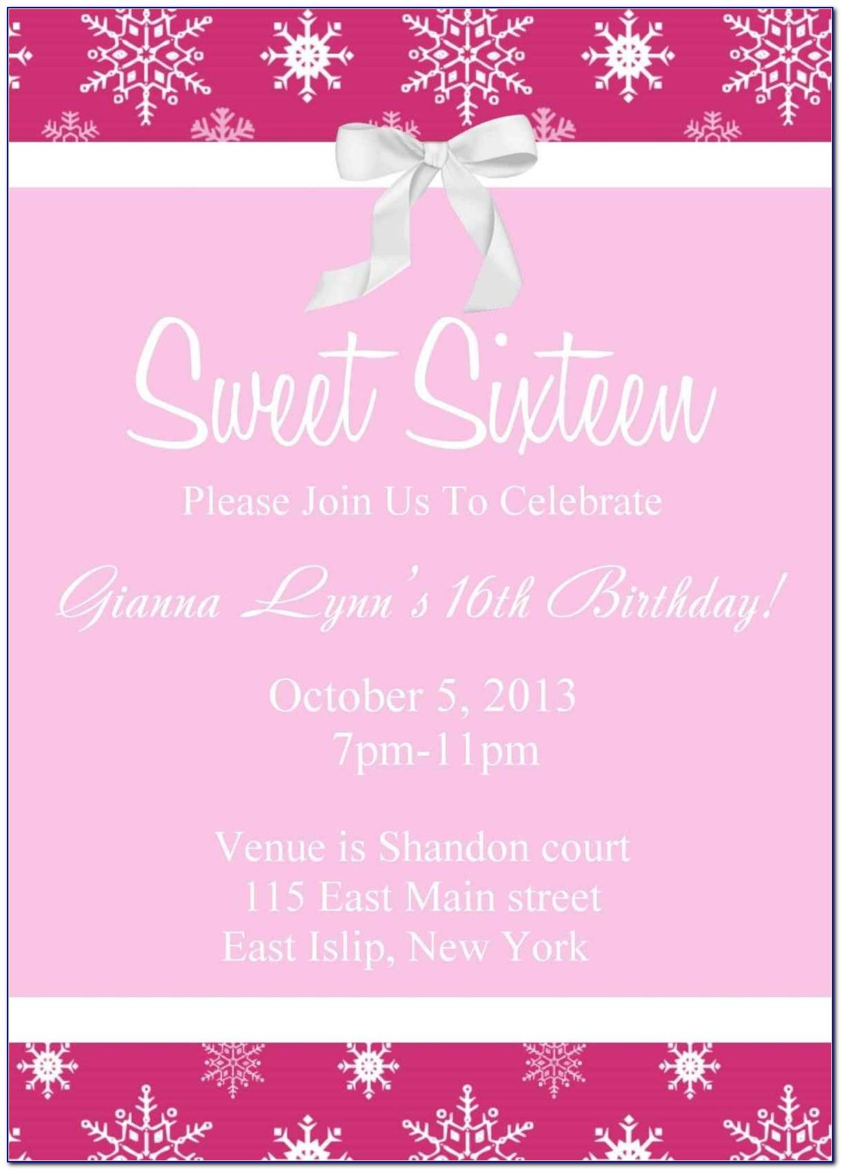 Free Sweet 16 Invitation Templates
