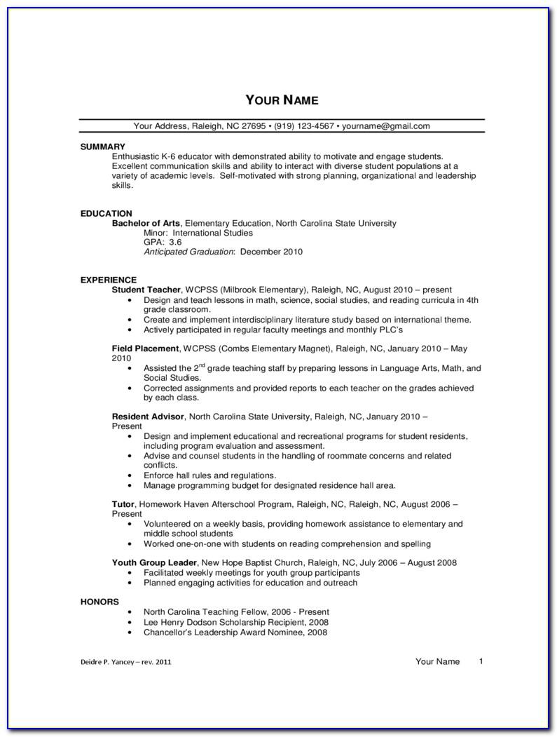 Free Teacher Resume Template Australia