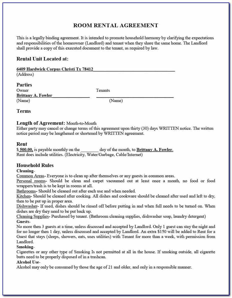 Free Template For Room Rental Agreement