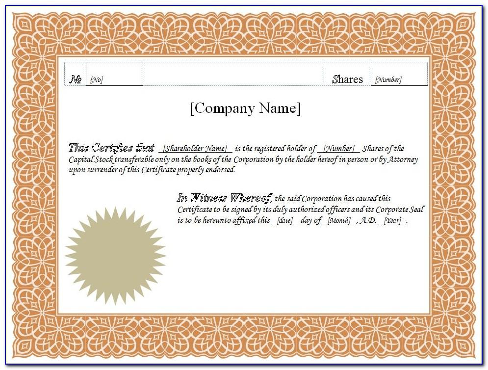 Free Template For Stock Certificate