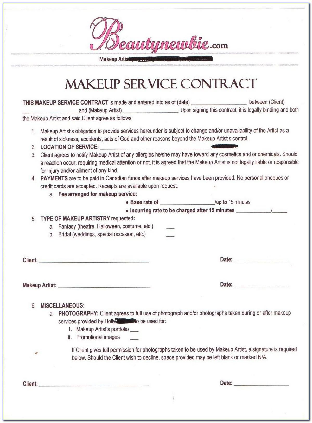 Freelance Makeup Artist Contract Sample