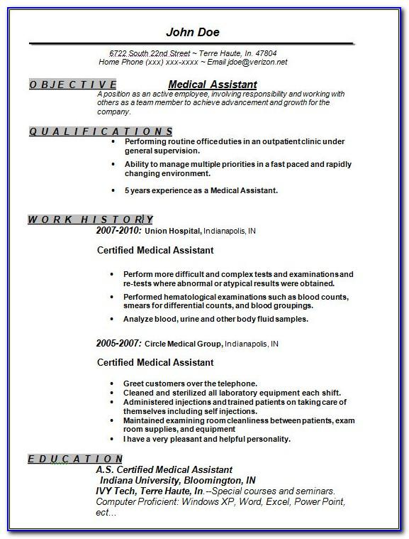 Good Resume Examples For Medical Assistant